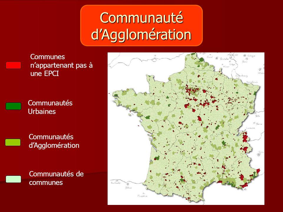 Communautéd'Agglomération Communes n'appartenant pas à une EPCI Communautés Urbaines Communautés d'Agglomération Communautés de communes