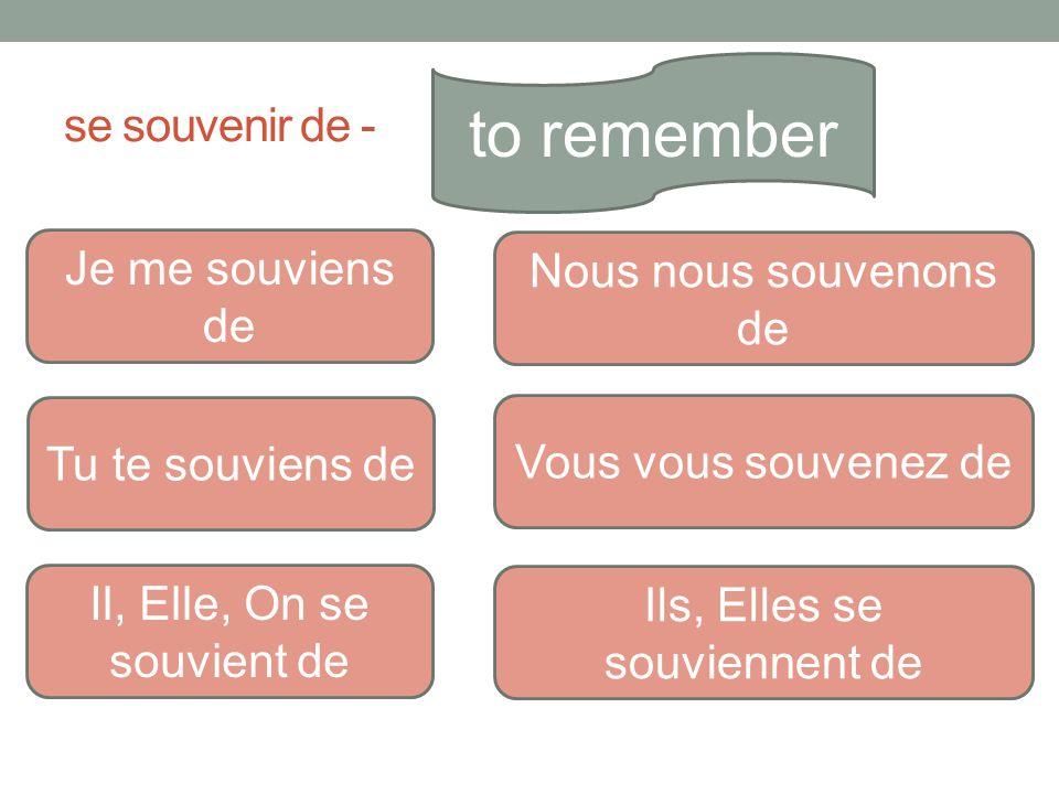 se souvenir de - to remember Je me souviens de Tu te souviens de Il, Elle, On se souvient de Nous nous souvenons de Vous vous souvenez de Ils, Elles s