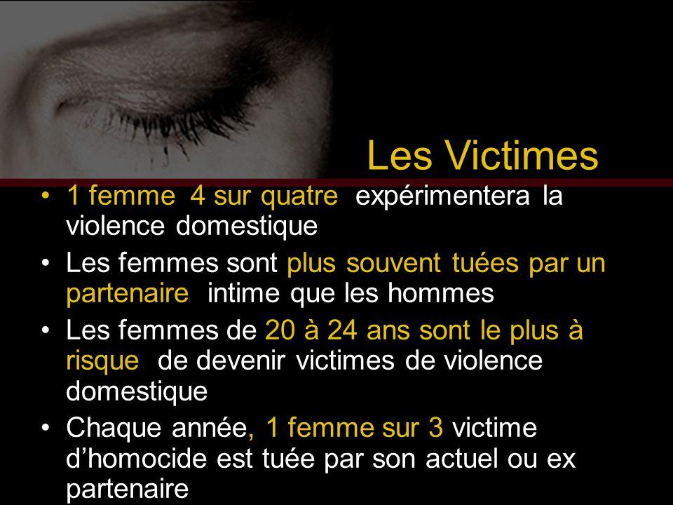Les Victimes 1 femme 4 sur quatre expérimentera la violence domestique Les femmes sont plus souvent tuées par un partenaire intime que les hommes Les