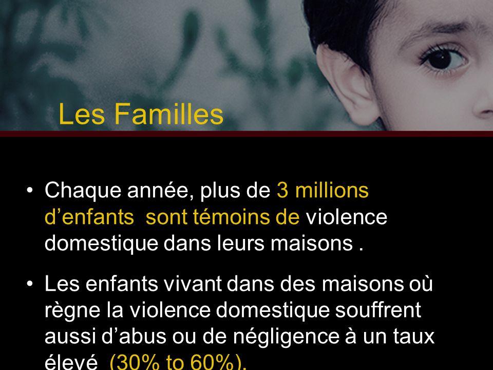 Les Familles Chaque année, plus de 3 millions d'enfants sont témoins de violence domestique dans leurs maisons. Les enfants vivant dans des maisons où