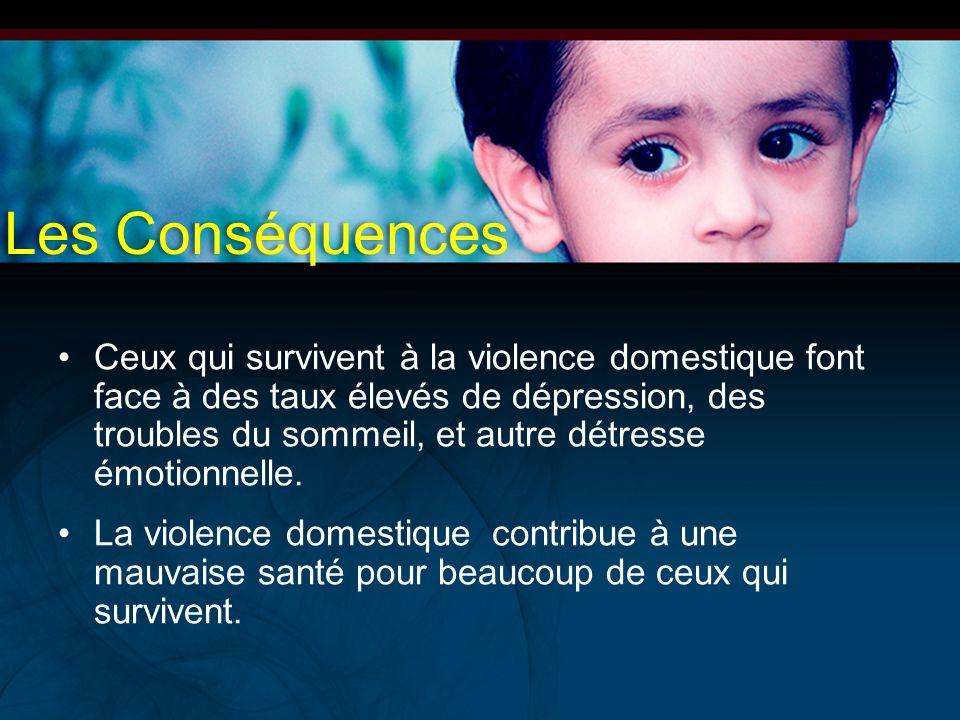 Les Conséquences Ceux qui survivent à la violence domestique font face à des taux élevés de dépression, des troubles du sommeil, et autre détresse émo