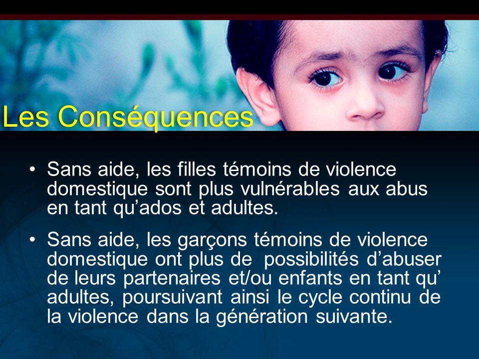 Sans aide, les filles témoins de violence domestique sont plus vulnérables aux abus en tant qu'ados et adultes. Sans aide, les garçons témoins de viol