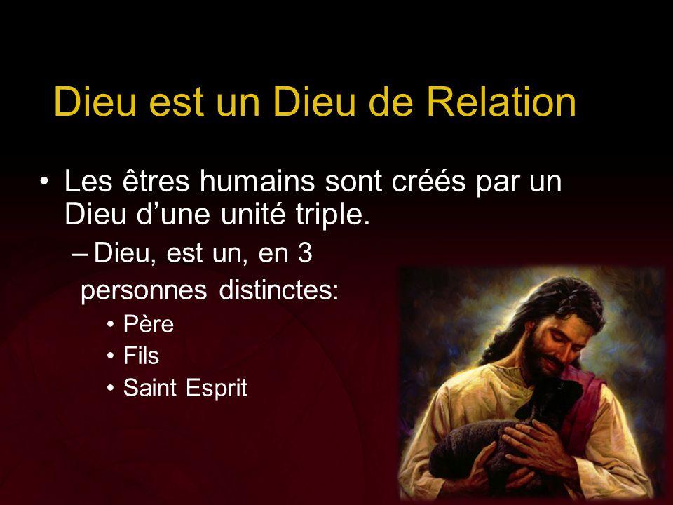 Dieu est un Dieu de Relation Les êtres humains sont créés par un Dieu d'une unité triple. –Dieu, est un, en 3 personnes distinctes: Père Fils Saint Es
