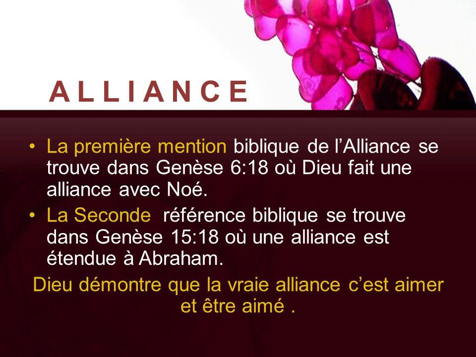 ALLIANCE La première mention biblique de l'Alliance se trouve dans Genèse 6:18 où Dieu fait une alliance avec Noé. La Seconde référence biblique se tr