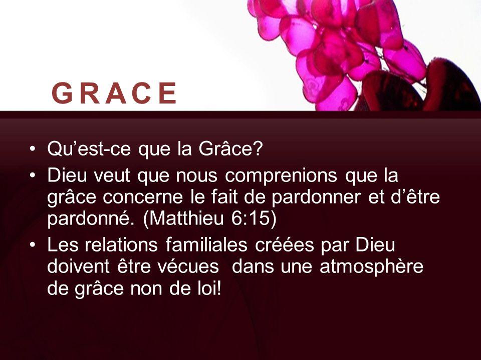 GRACE Qu'est-ce que la Grâce? Dieu veut que nous comprenions que la grâce concerne le fait de pardonner et d'être pardonné. (Matthieu 6:15) Les relati