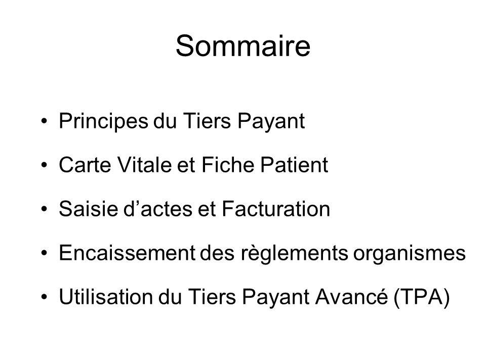 Sommaire Principes du Tiers Payant Carte Vitale et Fiche Patient Saisie d'actes et Facturation Encaissement des règlements organismes Utilisation du T