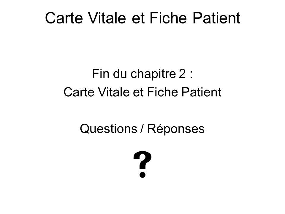Fin du chapitre 2 : Carte Vitale et Fiche Patient Questions / Réponses  Carte Vitale et Fiche Patient
