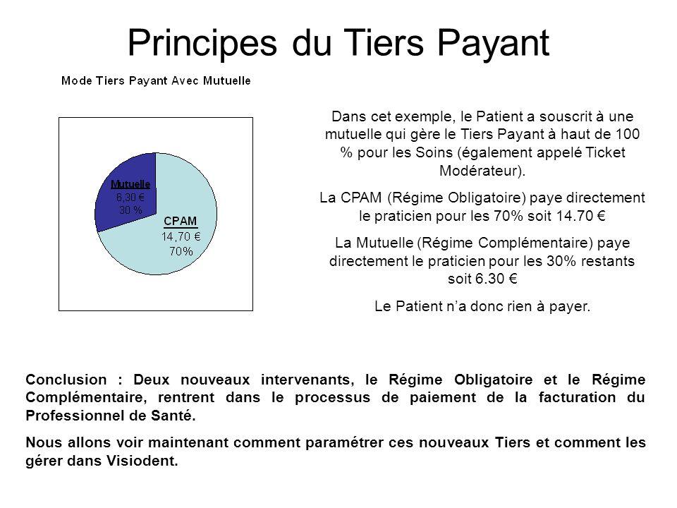 Dans cet exemple, le Patient a souscrit à une mutuelle qui gère le Tiers Payant à haut de 100 % pour les Soins (également appelé Ticket Modérateur). L