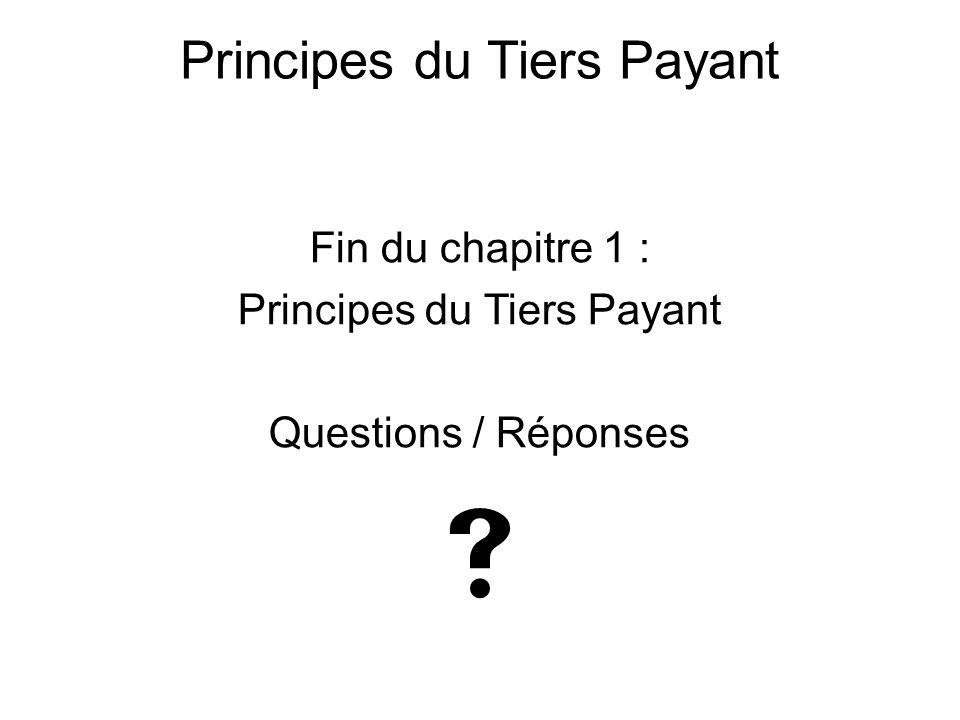 Fin du chapitre 1 : Principes du Tiers Payant Questions / Réponses  Principes du Tiers Payant