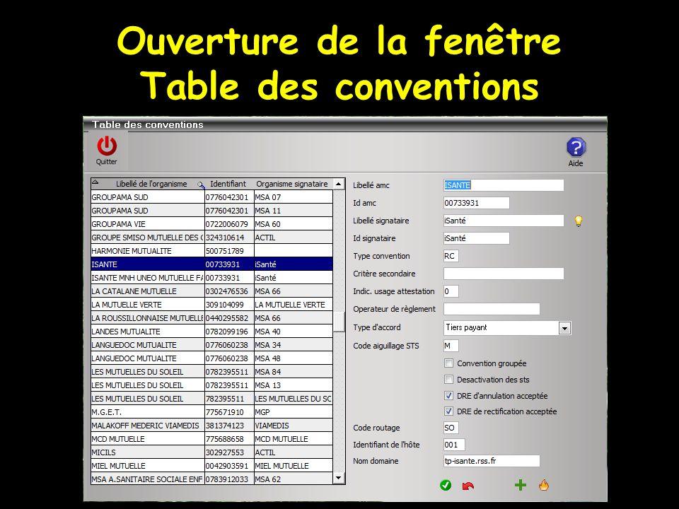 Ouverture de la fenêtre Table des conventions