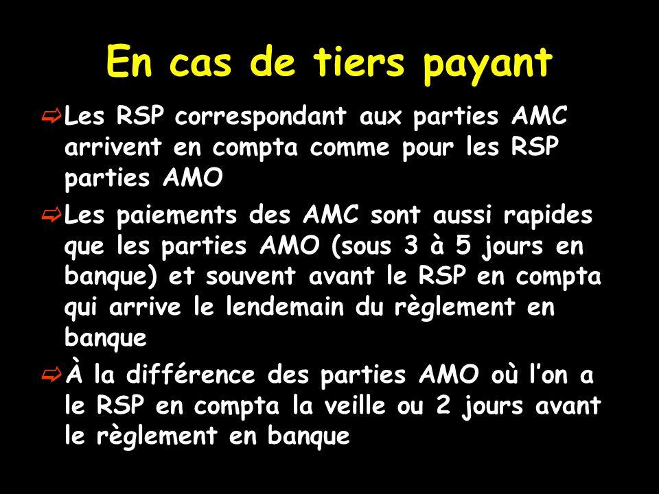 En cas de tiers payant  Les RSP correspondant aux parties AMC arrivent en compta comme pour les RSP parties AMO  Les paiements des AMC sont aussi rapides que les parties AMO (sous 3 à 5 jours en banque) et souvent avant le RSP en compta qui arrive le lendemain du règlement en banque  À la différence des parties AMO où l'on a le RSP en compta la veille ou 2 jours avant le règlement en banque