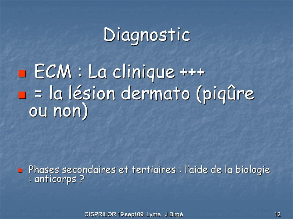 CISPRILOR 19 sept 09. Lyme. J.Birgé 12 Diagnostic ECM : La clinique +++ ECM : La clinique +++ = la lésion dermato (piqûre ou non) = la lésion dermato