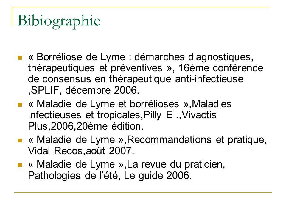 Bibiographie « Borréliose de Lyme : démarches diagnostiques, thérapeutiques et préventives », 16ème conférence de consensus en thérapeutique anti-infectieuse,SPLIF, décembre 2006.