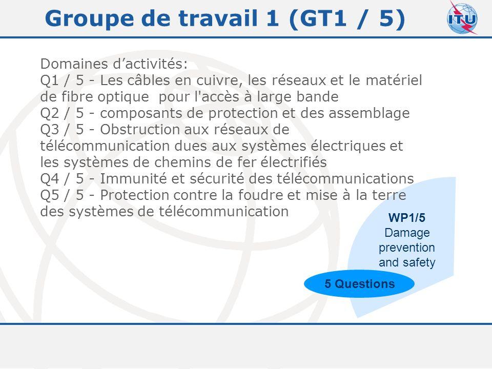 Committed to connecting the world 7 Groupe de travail 1 (GT1 / 5) Domaines d'activités: Q1 / 5 - Les câbles en cuivre, les réseaux et le matériel de fibre optique pour l accès à large bande Q2 / 5 - composants de protection et des assemblage Q3 / 5 - Obstruction aux réseaux de télécommunication dues aux systèmes électriques et les systèmes de chemins de fer électrifiés Q4 / 5 - Immunité et sécurité des télécommunications Q5 / 5 - Protection contre la foudre et mise à la terre des systèmes de télécommunication WP1/5 Damage prevention and safety 5 Questions