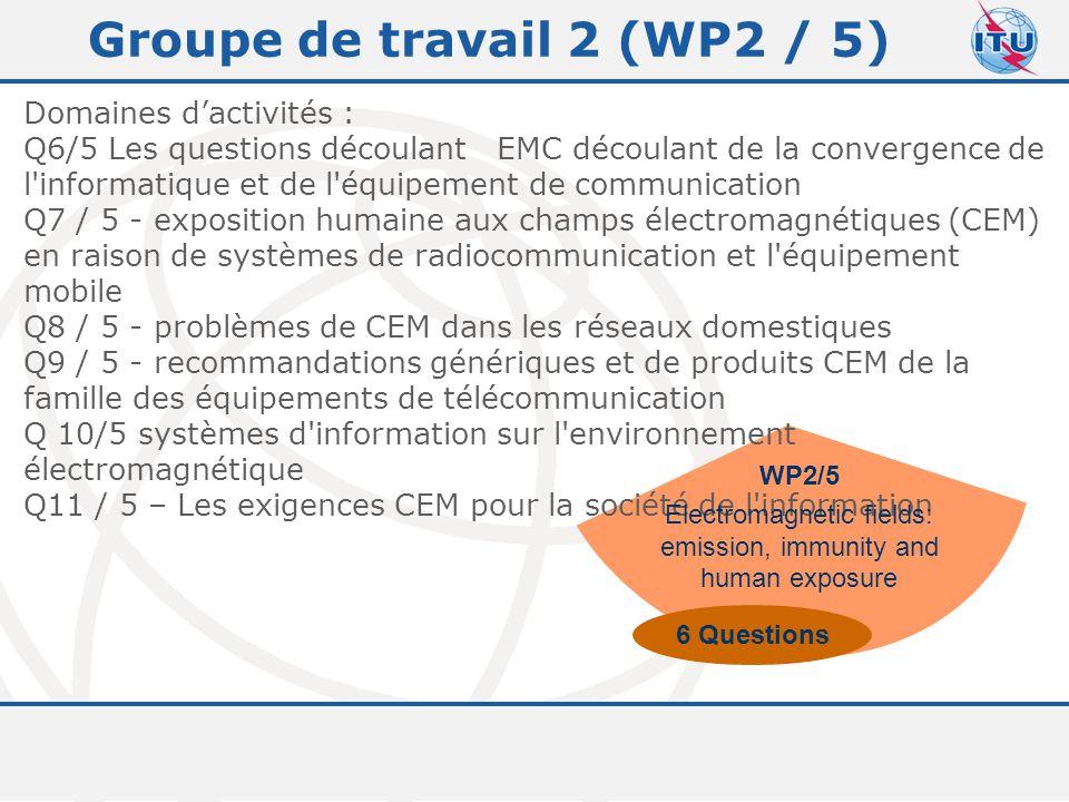 Committed to connecting the world 9 Groupe de travail 2 (WP2 / 5) Domaines d'activités : Q6/5 Les questions découlant EMC découlant de la convergence de l informatique et de l équipement de communication Q7 / 5 - exposition humaine aux champs électromagnétiques (CEM) en raison de systèmes de radiocommunication et l équipement mobile Q8 / 5 - problèmes de CEM dans les réseaux domestiques Q9 / 5 - recommandations génériques et de produits CEM de la famille des équipements de télécommunication Q 10/5 systèmes d information sur l environnement électromagnétique Q11 / 5 – Les exigences CEM pour la société de l information WP2/5 Electromagnetic fields: emission, immunity and human exposure 6 Questions