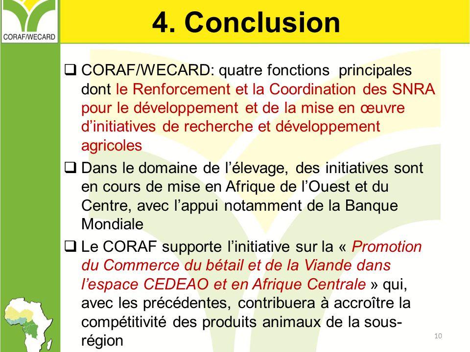4. Conclusion  CORAF/WECARD: quatre fonctions principales dont le Renforcement et la Coordination des SNRA pour le développement et de la mise en œuv