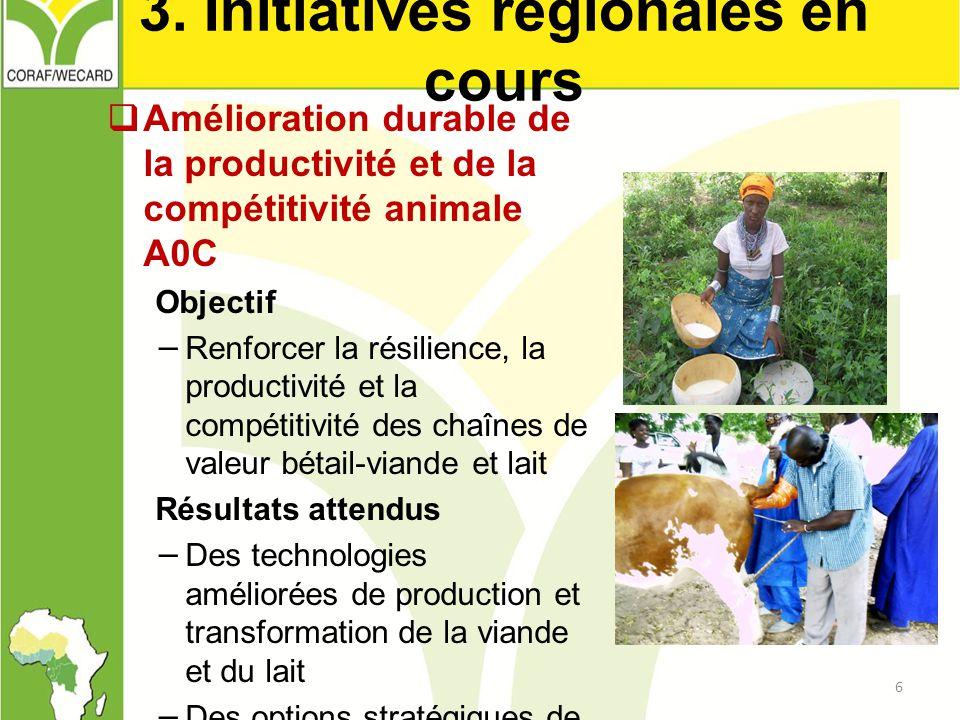 3. Initiatives régionales en cours  Amélioration durable de la productivité et de la compétitivité animale A0C Objectif − Renforcer la résilience, la