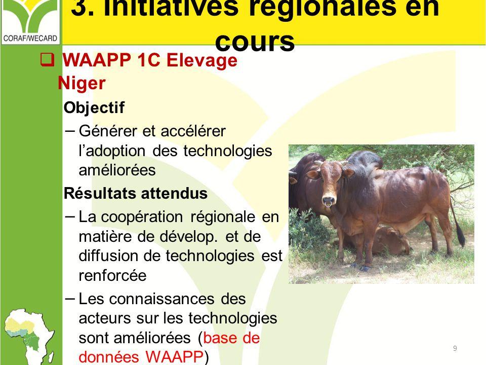 3. Initiatives régionales en cours  WAAPP 1C Elevage Niger Objectif − Générer et accélérer l'adoption des technologies améliorées Résultats attendus