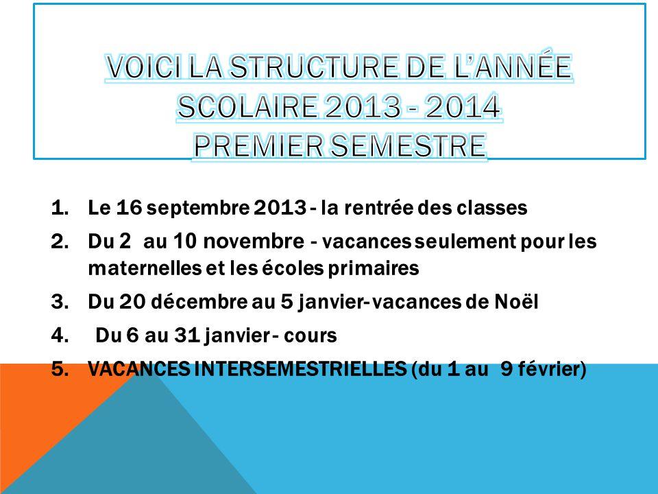 1.Le 16 septembre 2013 - la rentrée des classes 2.Du 2 au 10 novembre - vacances seulement pour les maternelles et les écoles primaires 3.Du 20 décemb