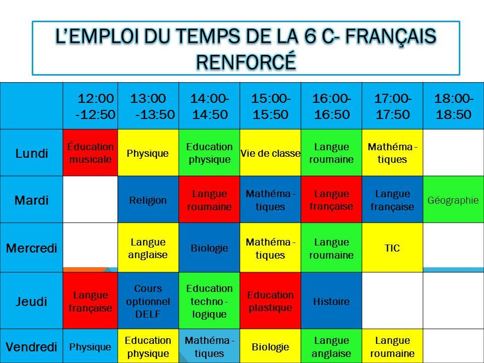 12:00 -12:50 13:00 -13:50 14:00- 14:50 15:00- 15:50 16:00- 16:50 17:00- 17:50 18:00- 18:50 Lundi Éducation musicale Physique Education physique Vie de