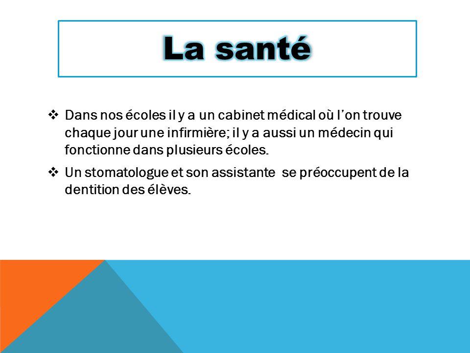  Dans nos écoles il y a un cabinet médical où l'on trouve chaque jour une infirmière; il y a aussi un médecin qui fonctionne dans plusieurs écoles. 