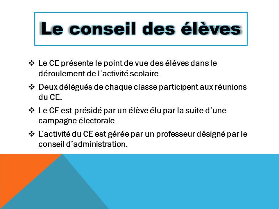  Le CE présente le point de vue des élèves dans le déroulement de l'activité scolaire.  Deux délégués de chaque classe participent aux réunions du C