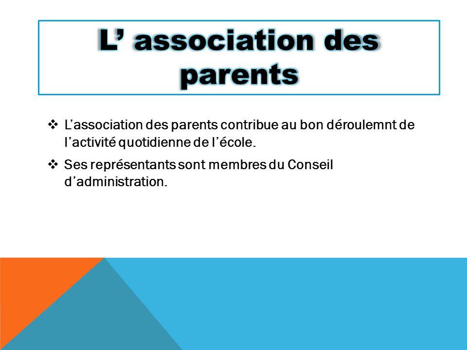  L'association des parents contribue au bon déroulemnt de l'activité quotidienne de l'école.  Ses représentants sont membres du Conseil d'administra