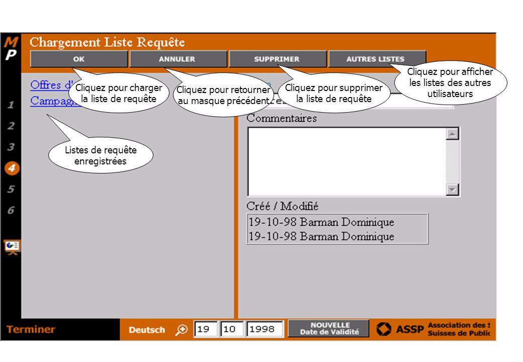 Cliquez pour charger la liste de requête Cliquez pour retourner au masque précédent Cliquez pour supprimer la liste de requête Listes de requête enregistrées Cliquez pour afficher les listes des autres utilisateurs