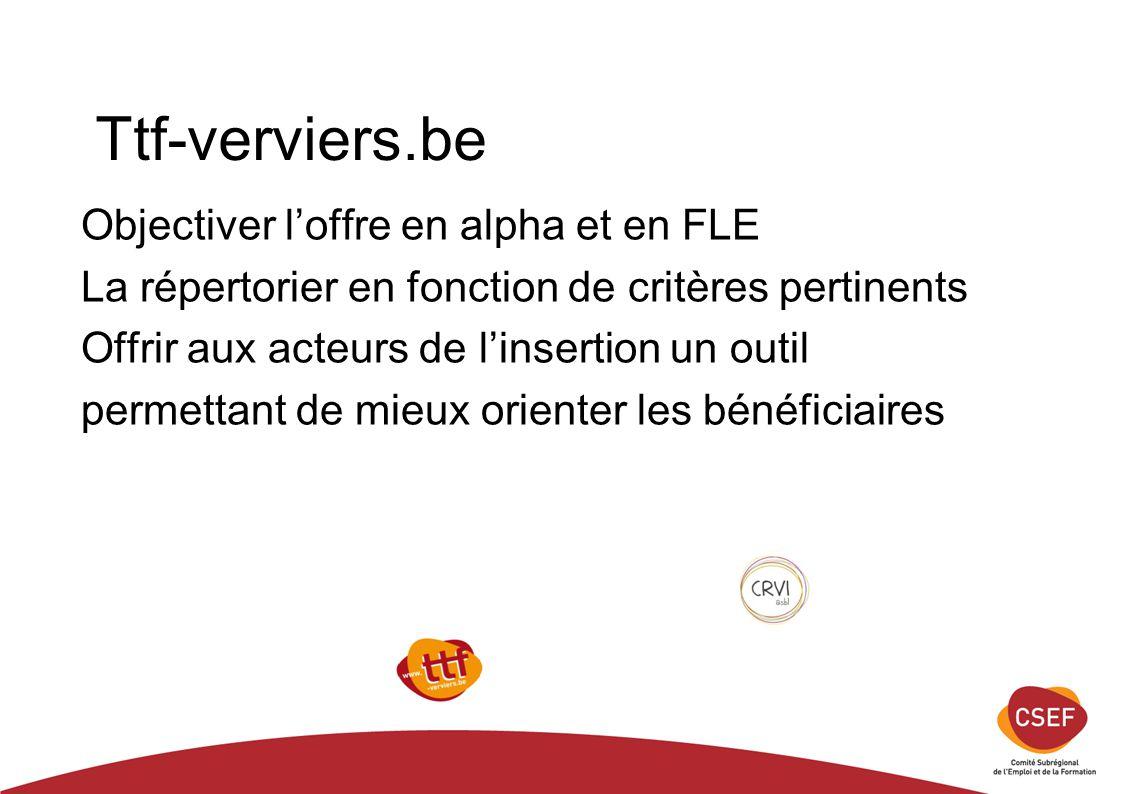 Ttf-verviers.be Objectiver l'offre en alpha et en FLE La répertorier en fonction de critères pertinents Offrir aux acteurs de l'insertion un outil permettant de mieux orienter les bénéficiaires