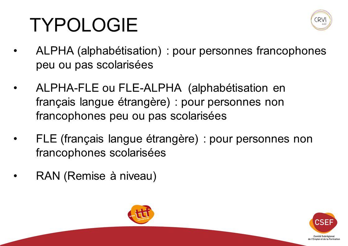 TYPOLOGIE ALPHA (alphabétisation) : pour personnes francophones peu ou pas scolarisées ALPHA-FLE ou FLE-ALPHA (alphabétisation en français langue étrangère) : pour personnes non francophones peu ou pas scolarisées FLE (français langue étrangère) : pour personnes non francophones scolarisées RAN (Remise à niveau)