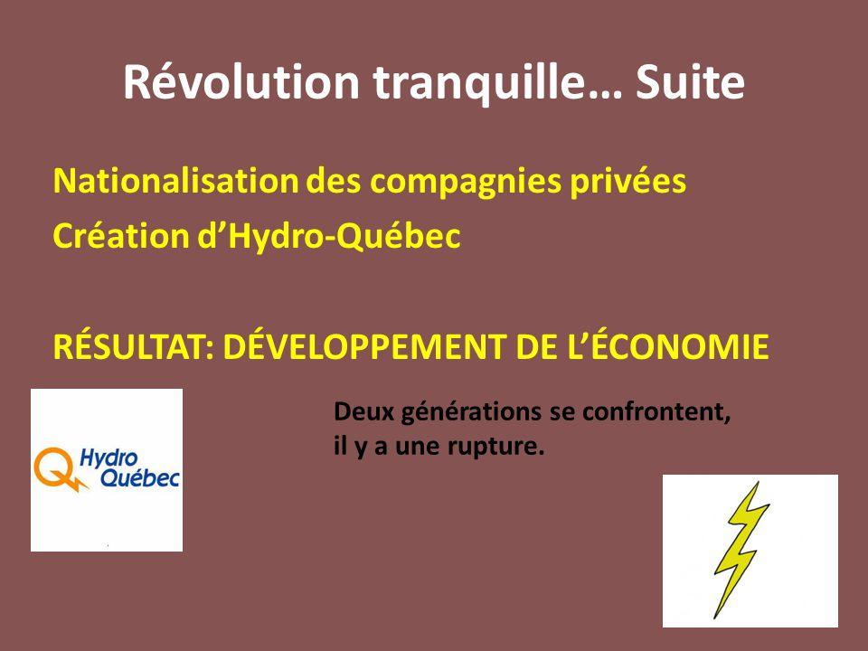 Révolution tranquille… Suite Nationalisation des compagnies privées Création d'Hydro-Québec RÉSULTAT: DÉVELOPPEMENT DE L'ÉCONOMIE Deux générations se confrontent, il y a une rupture.