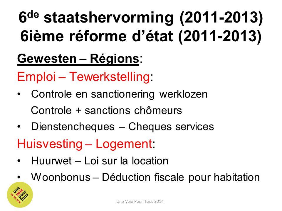 6 de staatshervorming (2011-2013) 6ième réforme d'état (2011-2013) Gewesten – Régions: Emploi – Tewerkstelling: Controle en sanctionering werklozen Co