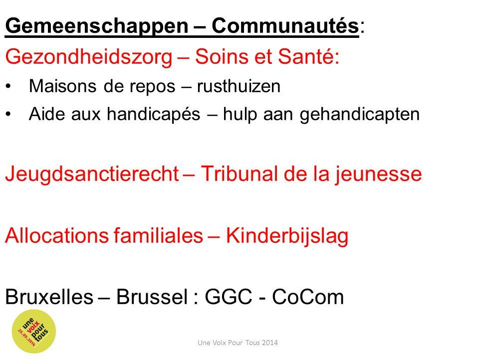 Gemeenschappen – Communautés: Gezondheidszorg – Soins et Santé: Maisons de repos – rusthuizen Aide aux handicapés – hulp aan gehandicapten Jeugdsanctierecht – Tribunal de la jeunesse Allocations familiales – Kinderbijslag Bruxelles – Brussel : GGC - CoCom Une Voix Pour Tous 2014