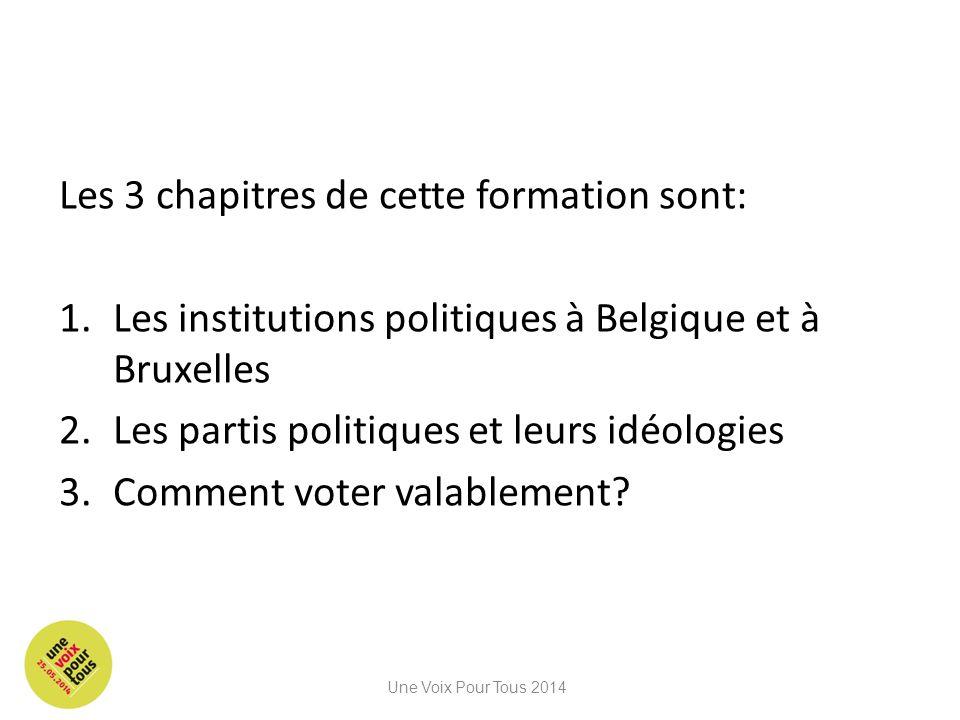 Les 3 chapitres de cette formation sont: 1.Les institutions politiques à Belgique et à Bruxelles 2.Les partis politiques et leurs idéologies 3.Comment voter valablement.