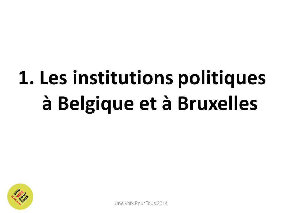 1. Les institutions politiques à Belgique et à Bruxelles Une Voix Pour Tous 2014