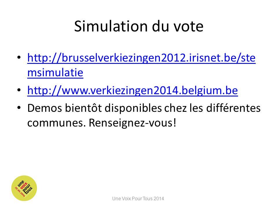 Simulation du vote http://brusselverkiezingen2012.irisnet.be/ste msimulatie http://brusselverkiezingen2012.irisnet.be/ste msimulatie http://www.verkiezingen2014.belgium.be Demos bientôt disponibles chez les différentes communes.