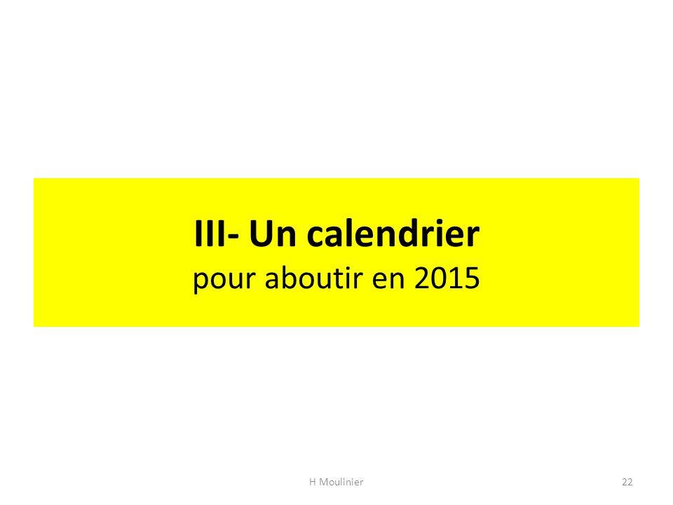 III- Un calendrier pour aboutir en 2015 H Moulinier22