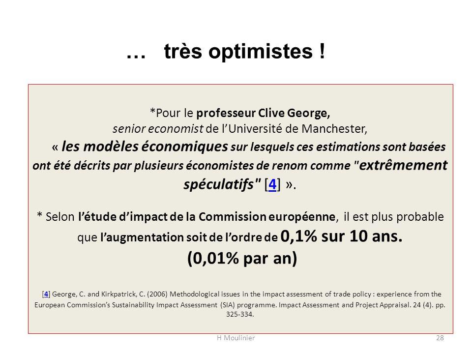 *Pour le professeur Clive George, senior economist de l'Université de Manchester, « les modèles économiques sur lesquels ces estimations sont basées ont été décrits par plusieurs économistes de renom comme extrêmement spéculatifs [4] ».