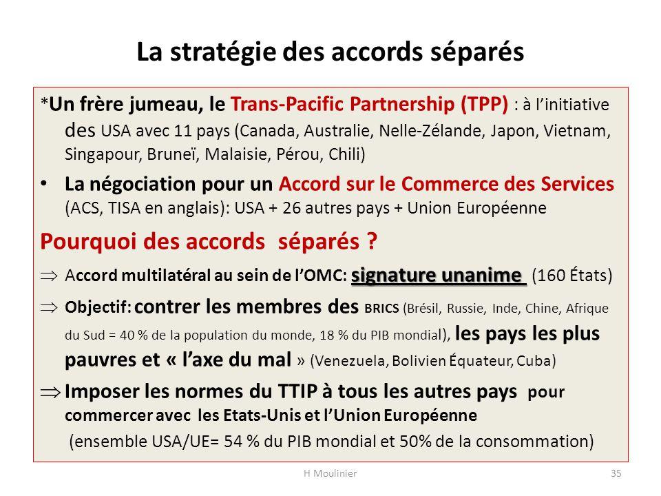 La stratégie des accords séparés * Un frère jumeau, le Trans-Pacific Partnership (TPP) : à l'initiative des USA avec 11 pays (Canada, Australie, Nelle-Zélande, Japon, Vietnam, Singapour, Bruneï, Malaisie, Pérou, Chili) La négociation pour un Accord sur le Commerce des Services (ACS, TISA en anglais): USA + 26 autres pays + Union Européenne Pourquoi des accords séparés .