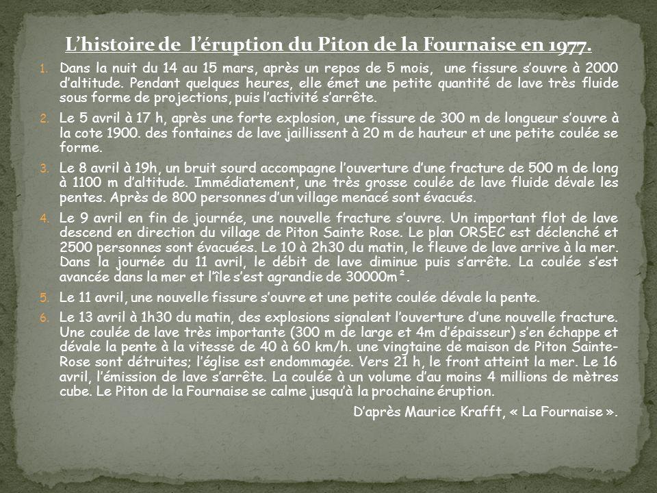 L'histoire de l'éruption du Piton de la Fournaise en 1977. 1. Dans la nuit du 14 au 15 mars, après un repos de 5 mois, une fissure s'ouvre à 2000 d'al