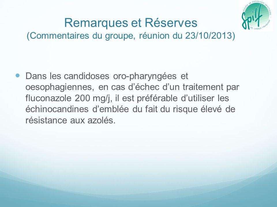 Remarques et Réserves (Commentaires du groupe, réunion du 23/10/2013) Dans les candidoses oro-pharyngées et oesophagiennes, en cas d'échec d'un traite