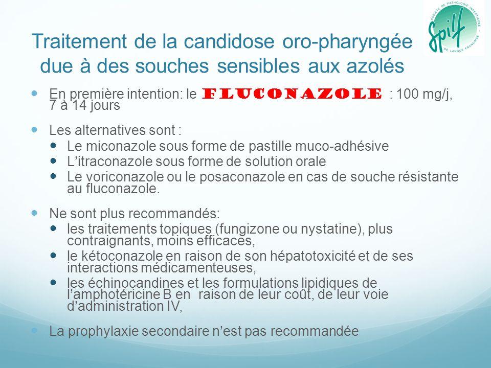 Traitement de la candidose oro-pharyngée due à des souches sensibles aux azolés En première intention: le fluconazole : 100 mg/j, 7 à 14 jours Les alt