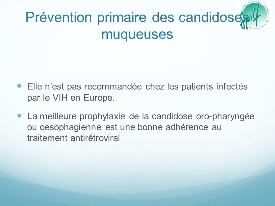 Prévention primaire des candidoses muqueuses Elle n'est pas recommandée chez les patients infectés par le VIH en Europe. La meilleure prophylaxie de l