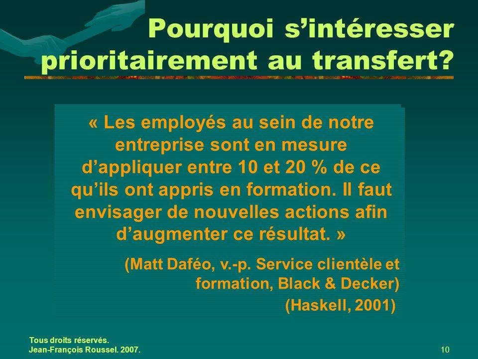 Tous droits réservés. Jean-François Roussel. 2007.10 Pourquoi s'intéresser prioritairement au transfert? « La grande majorité des recherches effectuée