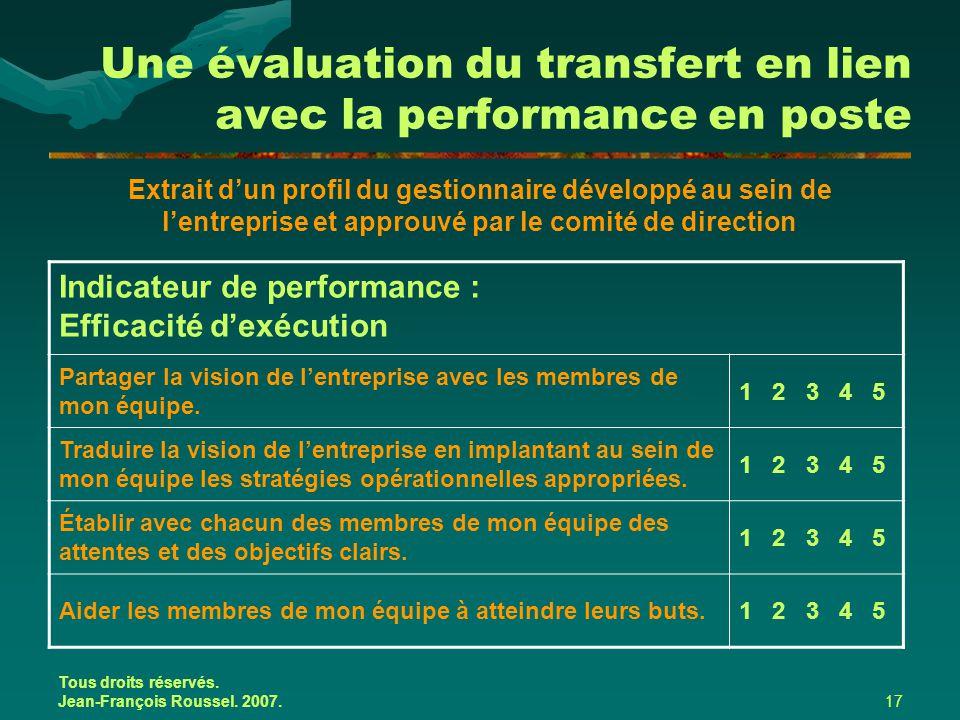 Tous droits réservés. Jean-François Roussel. 2007.17 Une évaluation du transfert en lien avec la performance en poste Extrait d'un profil du gestionna