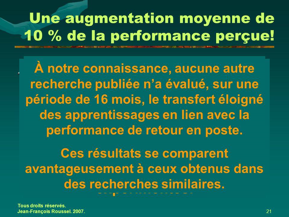 Tous droits réservés. Jean-François Roussel. 2007.21 Une augmentation moyenne de 10 % de la performance perçue! Quatre indicateurs qui structurent le