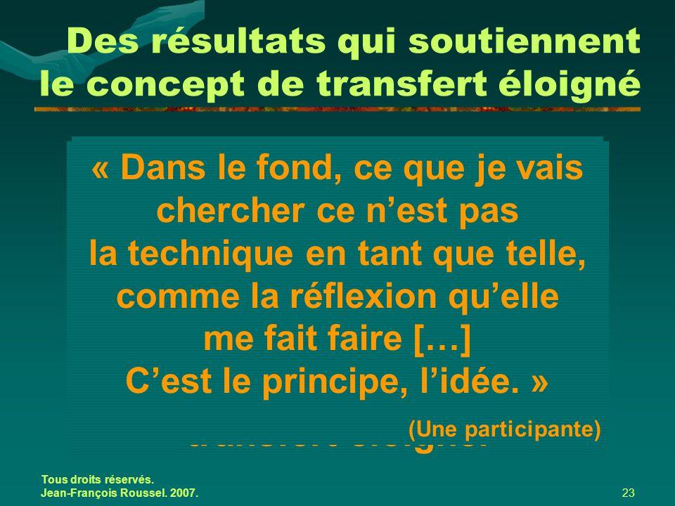 Tous droits réservés. Jean-François Roussel. 2007.23 Bien qu'il est possible de relier le transfert des apprentissages à des outils de gestion, ce son