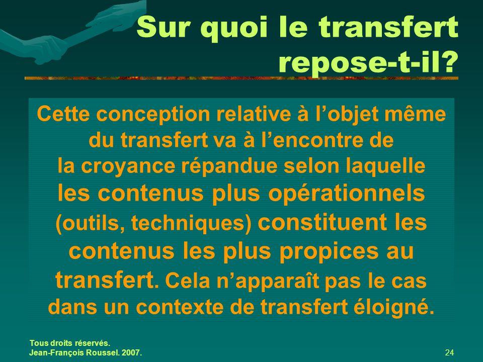 Tous droits réservés. Jean-François Roussel. 2007.24 Sur quoi le transfert repose-t-il? Cette conception relative à l'objet même du transfert va à l'e