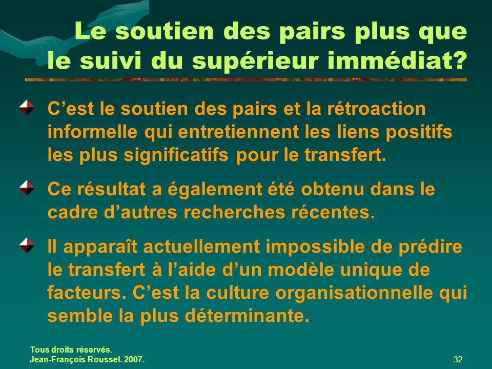 Tous droits réservés. Jean-François Roussel. 2007.32 Le soutien des pairs plus que le suivi du supérieur immédiat? C'est le soutien des pairs et la ré
