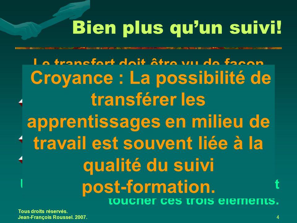 Tous droits réservés. Jean-François Roussel. 2007.4 Le transfert doit être vu de façon systémique et est lié : aux caractéristiques individuelles de l
